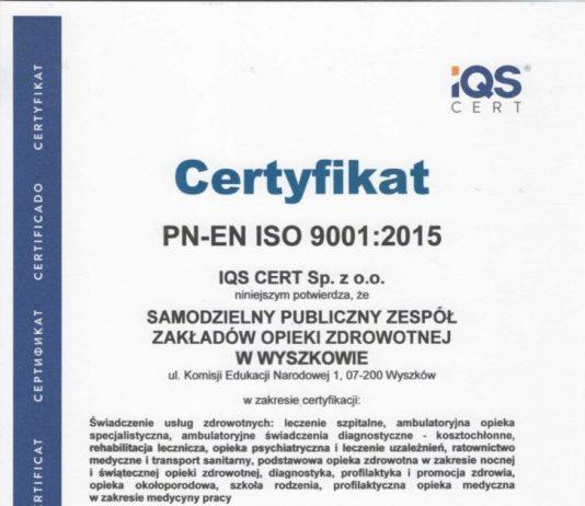 Certyfikat ISO Szpital Wyszków